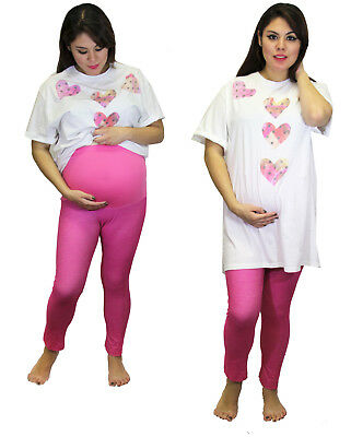 Maternity Oversized Tee Pajama Soft Heart Design With Bottoms Two Piece