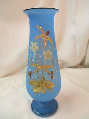 Antique Hand Blown Blue Satin Glass Vase Gold Enameling Hand Painted