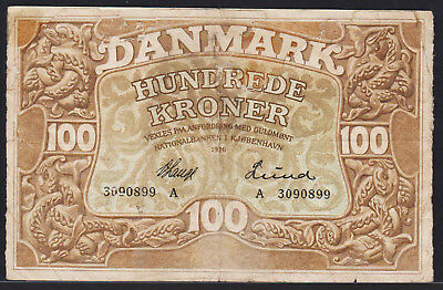Banknote DENMARK - 100 Kroner 1926 early date - P. 23i repaired