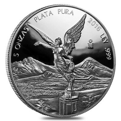 2016 5 oz Mexican Silver Libertad Coin .999 Fine Proof (In Cap)