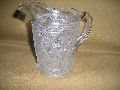 VINTAGE AMERICAN PRESED GLASS CREAMER or SYRUP PITCHER