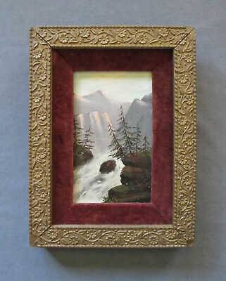 Small Antique 19th Century Oil Landscape Painting, White Mountain/Hudson River