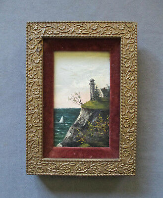 Small Antique 19th Century Oil Lighthouse Landscape Painting