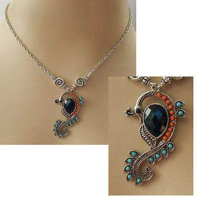 Silver Peacock Pendant Necklace Jewelry Handmade NEW Fashion Accessories Chain