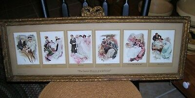 Antique The Greatest Moments Of A Girl's Life Reinhart & Newman Ny Ornate Frame