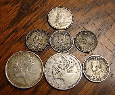 Canada---Lot of 7 Small Silver Coins