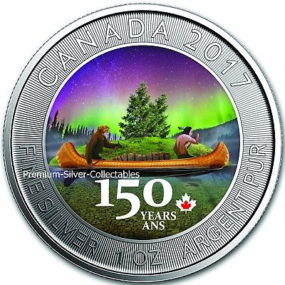 2017 Canada 1 Ounce Pure Silver Celebrate 150 Years Voyager at Night Colorized !