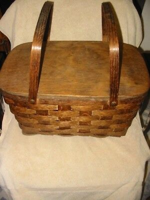 antique vintage wood woven picnic basket dark brown 2 handles solid lid hinges
