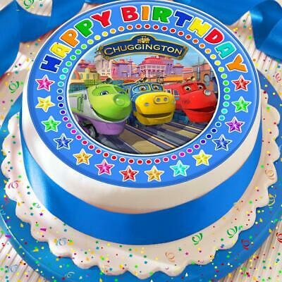 Chuggington Blue Happy Birthday Precut Edible Birthday Cake Topper