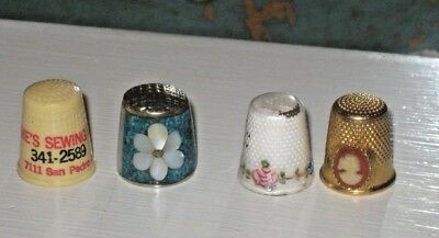 Vintage Advertising Sewing Thimbles Inlaid & Enamel with Pink Roses, Cameo