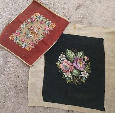 Antique Vintage 1900s Lot Floral Print Wool Tapestry Needlepoint Pillow Cover