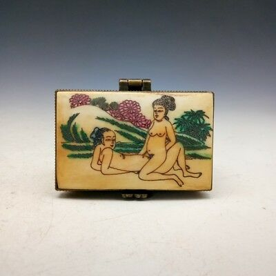 Ancient Chinese old hand painting craft box of men and women figure