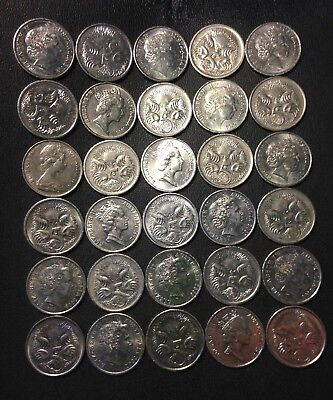 Old Australia Coin Lot - 30 HIGH GRADE 5 CENT COINS - Lot #J18