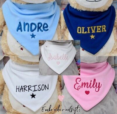 Personalised Cotton Baby Bandana Dribble Bib Embroidered With Any Name Gift