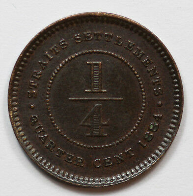 Straits Settlements 1884 1/4 Cent, toned about Uncirculated