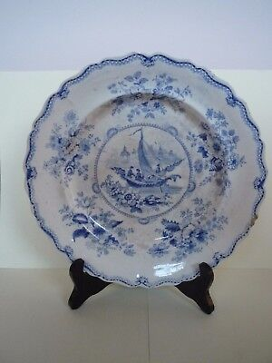 Antique English Staffordshire Chinese Pattern Blue and White Platter