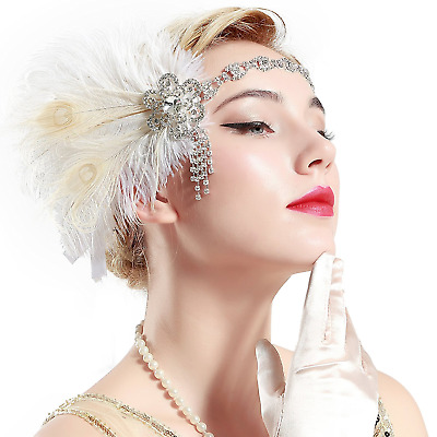 BABEYOND Vintage 1920s Flapper Headband Roaring 20s Great Gatsby Headpiece with