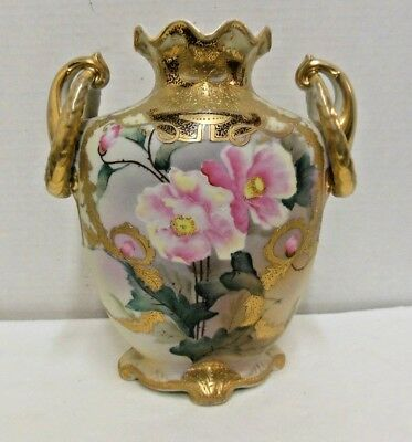 Antique JAPAN NIPPON porcelain vase Hand Painted Gold Moriage beaded Handled