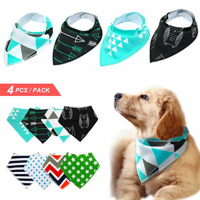 4pcs Dog Collar Soft Cotton Bandana Pet Dog Cat Neck Scarf Neckerchief Pinafore