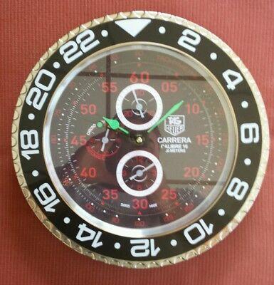 Tag Heuer dealer showroom wall clock Carrera Chronograph style quiet sweep READ!