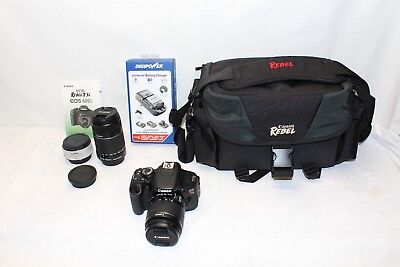Canon Rebel T3i EOS 600D 18.0MP Digital SLR Camera Bundle w/ 2 Lenses & Extras