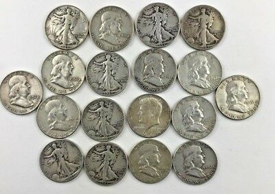 SILVER Lot of 18 Half Dollars 90% SILVER Coins - Great Starter Group