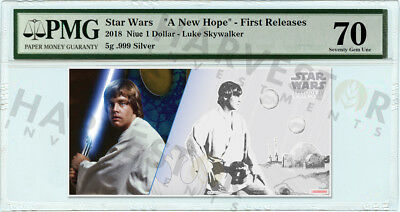 2018 Silver Star Wars Luke Skywalker - 5 Gram Coin Note - Pmg 70 First Releases