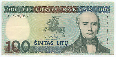 100 Litas Early Banknote of Lithuania - 1991 Crisp Uncirculated