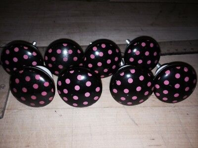 Lot of 8 Vintage Ceramic Cabinet Drawer knobs - White Black with Pink Polka Dots