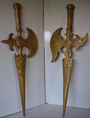 Vintage Sexton Metal Sword Large Wall Brass Lot Medieval