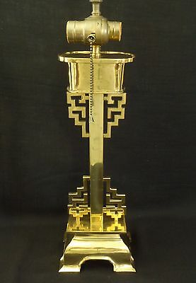 Antique early 20th century Arts & Crafts solid brass table oriental style Lamp