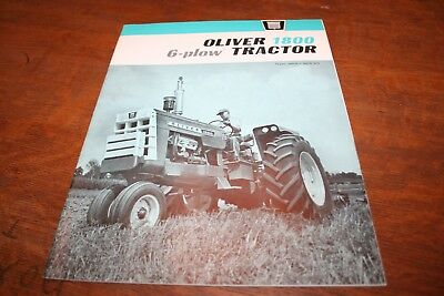 Oliver 1800 Tractor Brochure 6 Plow Row Crow 4WD Wheatland Rice 1964! EXTRA