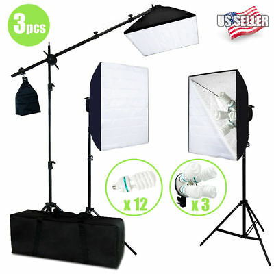 Photo Studio Photography 3 Softbox Light Stand Continuous Lighting Kit 2400W VIP