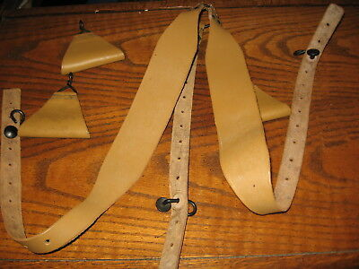 French military leather suspenders brown mustard color