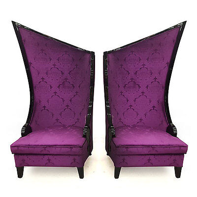 Vintage Style Purple Pair of Hollywood Regency Fireside Tall Chairs,71.25''H