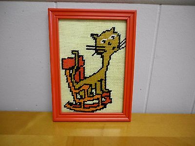Vintage Needlepoint Cross Stitched Framed Picture Silly Kitty Cat Rocking Chair