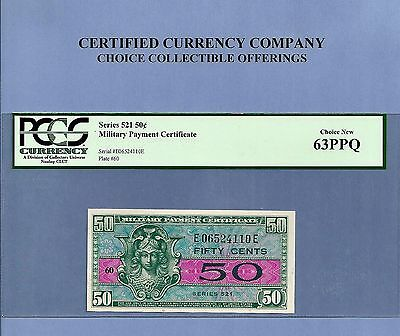 Military Payment Certificate series 521 50 cents PCGS Choice New 63 PPQ