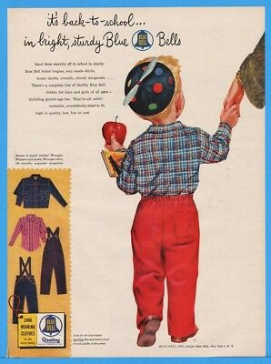 1954 Blue Bell Childrens Clothes Overalls Jeans Jacket Shirts Beanie Cap Prop Ad