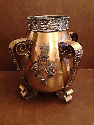 Beautiful and Rare Victorian Brass and White Metal Oil Lamp Base