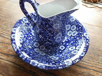 Made in England chintz blue flowers on blue back ground Bowl & Creamer