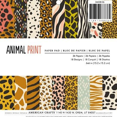 "NEW American Crafts Animal 36 Sheets 6"" Paper Pad By Spotlight"