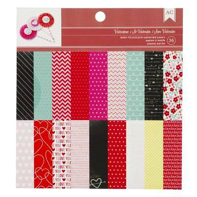 "NEW American Crafts Valentines 36 Sheets 6"" Paper Pad By Spotlight"