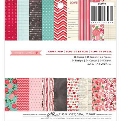 "NEW American Crafts Yours Truly 36 Sheets 6"" Paper Pad By Spotlight"