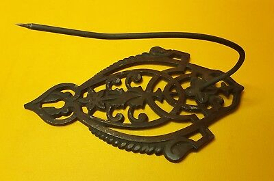 Vintage Ornate Cast Iron Receipt / Bill Holder with Spike- Wall Mount
