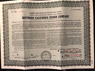 Vintage Southern California Edison Co. Scrip Certificate 1/2 Share stock, 1947