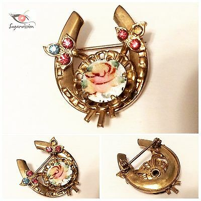 Vintage Horse Shoe Brooch Gold Tone With Rhinestones And Enamel Mini Plate Rare