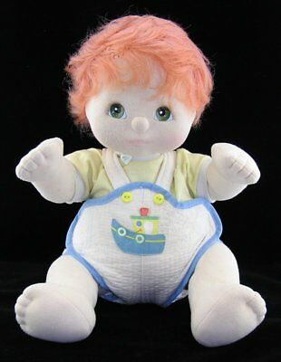 Vintage 1985 My Child Boy Doll Red Hair Green Eyes with Original Tugboat Romper