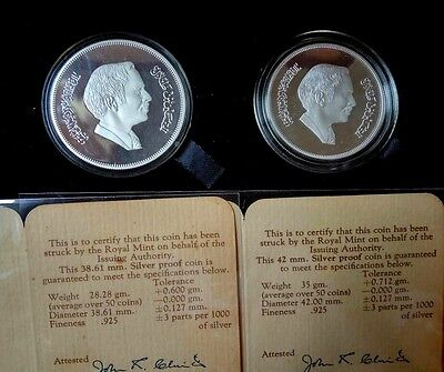 Jordan Conservation 1977 3 Dinars 2 1/2 Dinars Proof