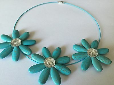 WHOLESALE JOB LOT 25x Simple Glittering Three Turquoise Flower Choker Necklace