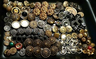 115 Vintage Metal & Metalized Plastic Buttons - Great Assorted Lot Sets-Singles